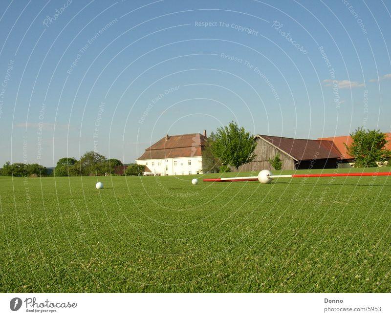 Golfplatz Fotoshooting Himmel grün Sport Gebäude Ball