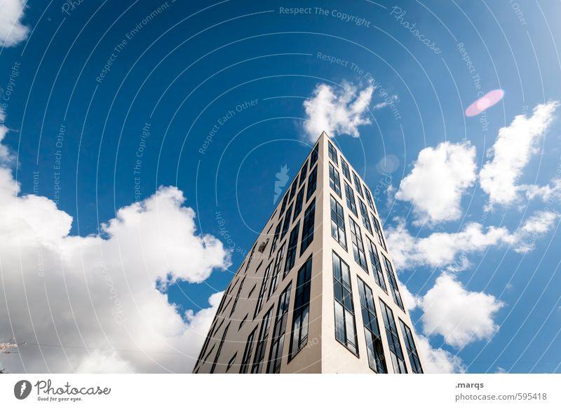 Oben elegant Stil Wirtschaft Baustelle Business Himmel Wolken Sommer Schönes Wetter Gebäude Architektur Hochhaus Bankgebäude hoch oben schön Stadt Design Erfolg