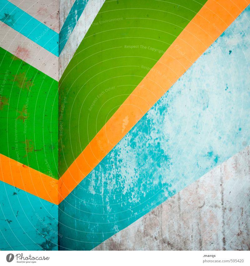 Trend elegant Stil Design Mauer Wand Linie Streifen alt eckig einfach trendy retro grau grün orange türkis Farbe Verfall Hintergrundbild Farbfoto Außenaufnahme