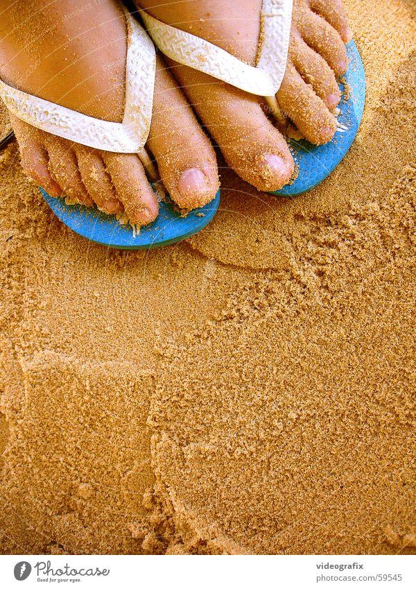 beach sand walk Meer Sommer Strand Ferien & Urlaub & Reisen Fuß Sand Flipflops