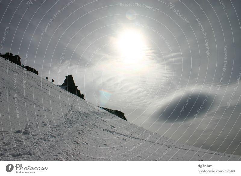 Wolke über Gletscher Sonne Wolken Berge u. Gebirge Eis Felsen Bergsteigen Gletscher