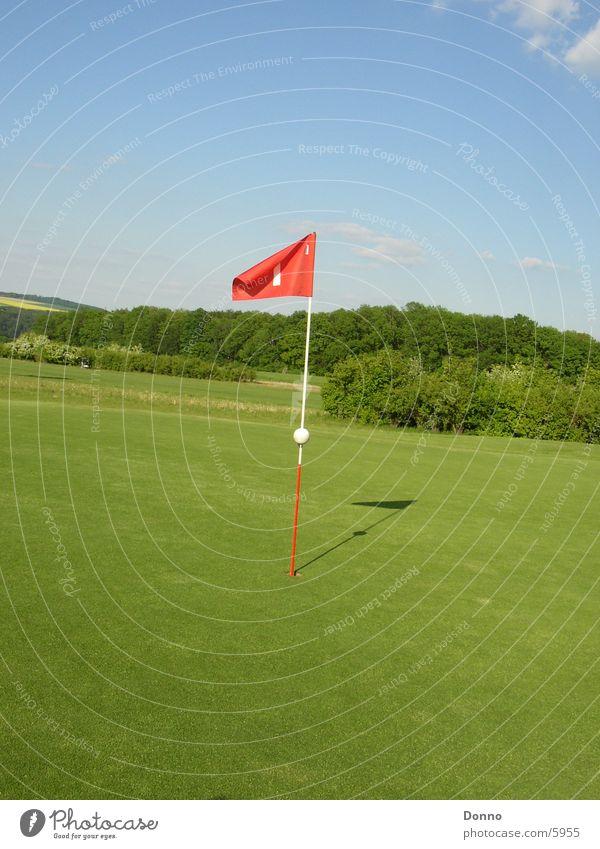 Golfplatz Shooting Fahne grün rot Sport Landschaft Himmel