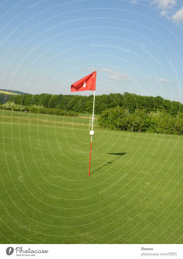 Golfplatz Shooting Himmel grün rot Sport Landschaft Fahne