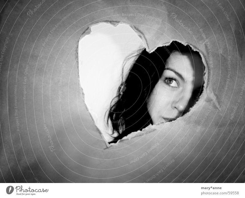 °sehnsucht Sehnsucht Gefühle Frau Herz Liebe Gesicht Blick Schwarzweißfoto