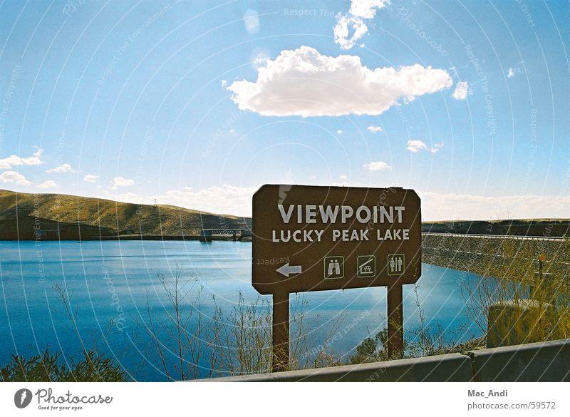 Aussichtpunkt Wasser Himmel Straße See USA Staumauer Idaho Boise City Lucky Peak State Park
