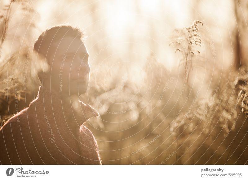 enjoy the sunshine Mensch Himmel Natur Jugendliche Mann Pflanze Sonne Landschaft ruhig 18-30 Jahre Winter Junger Mann Erwachsene Leben Gefühle Herbst