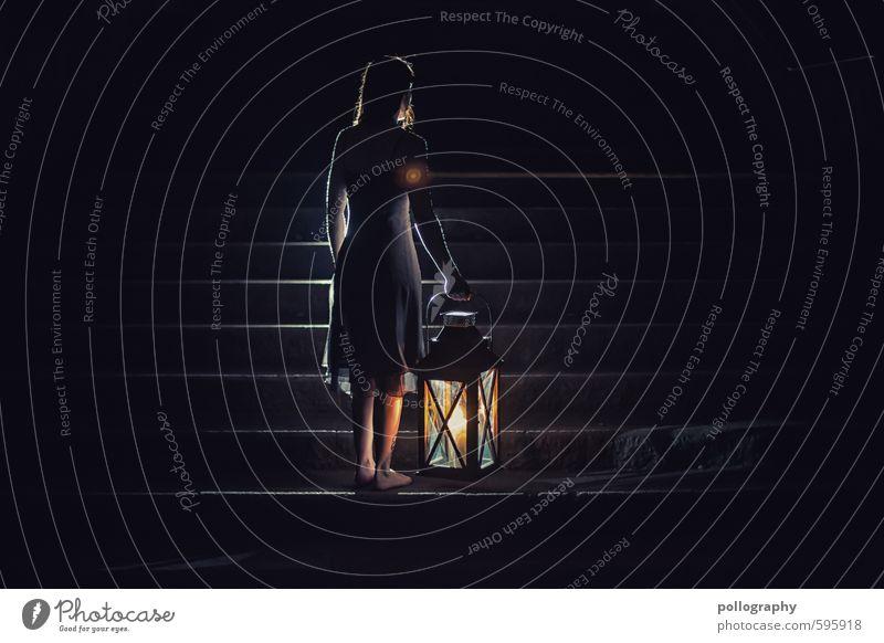 lantern (5) Mensch feminin Junge Frau Jugendliche Erwachsene Leben Körper 1 18-30 Jahre Herbst Winter Treppe Kleid langhaarig Stimmung Neugier Interesse