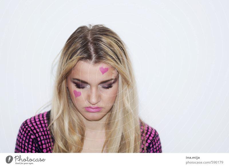 Liebeskummer Mensch Frau Jugendliche schön Einsamkeit Junge Frau 18-30 Jahre schwarz Erwachsene Leben Traurigkeit Liebe feminin Feste & Feiern rosa blond