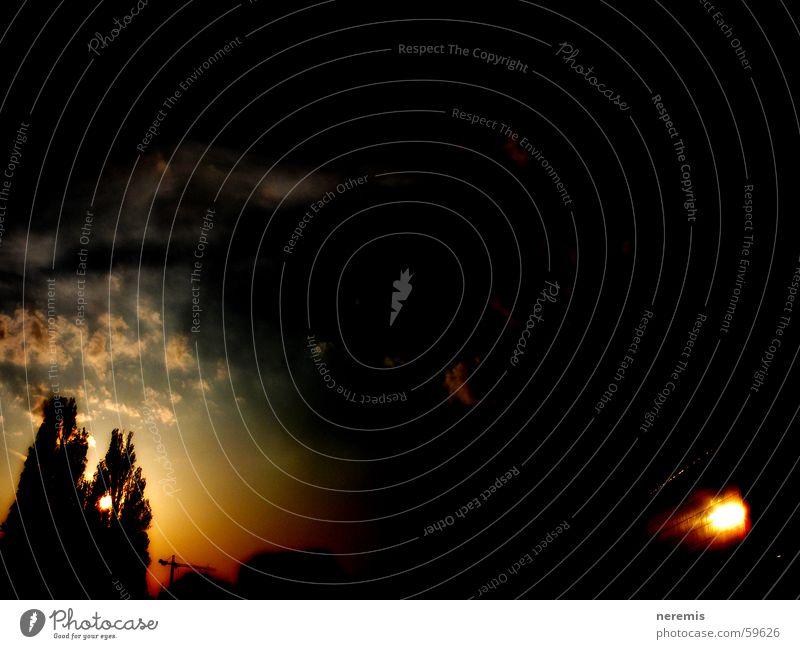 die ruhe vor dem sturm (2) Himmel Baum Sonne Wolken dunkel Österreich Wien Sonnenuntergang