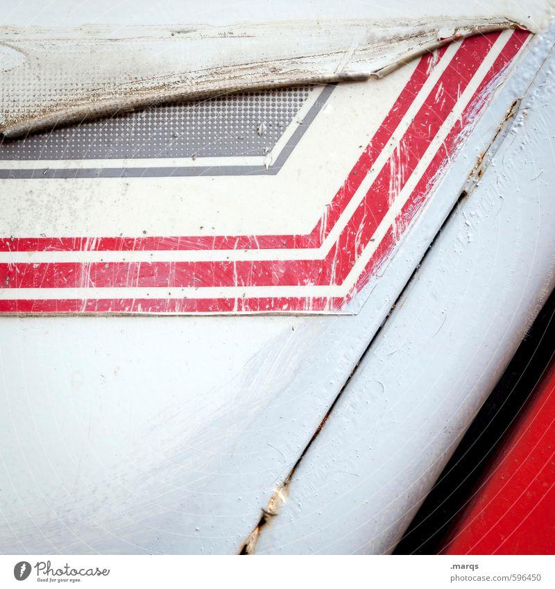 Abnabelung Lifestyle elegant Stil Design Metall Kunststoff Linie Streifen Coolness eckig trendy kaputt trashig rot schwarz weiß Verfall Wandel & Veränderung
