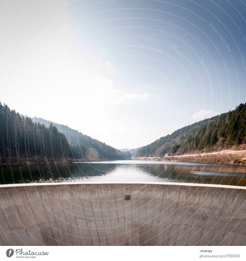 Damm Tourismus Ausflug Umwelt Natur Landschaft Wasser Himmel Horizont Schönes Wetter Wald Hügel See Stausee Staumauer Talsperre Erholung schön Perspektive