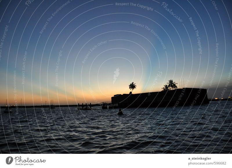 Abendstimmung über Salvador De Bahia Umwelt Natur Landschaft Wasser Himmel Horizont Sonne Sonnenfinsternis Sonnenlicht Sommer Wetter Schönes Wetter Wellen Küste