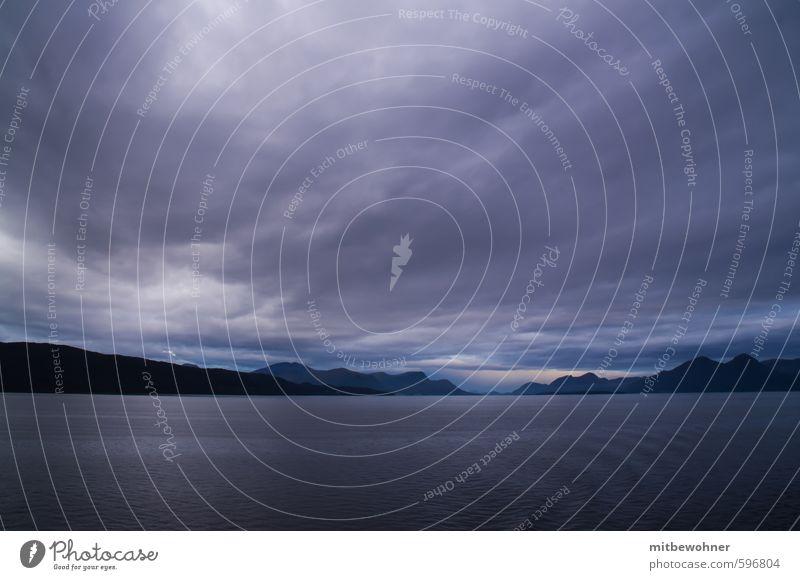 Abendstimmung Natur Ferien & Urlaub & Reisen Wasser Meer Landschaft Wolken Ferne Berge u. Gebirge Küste Frühling Freiheit Horizont Wetter Wind Klima