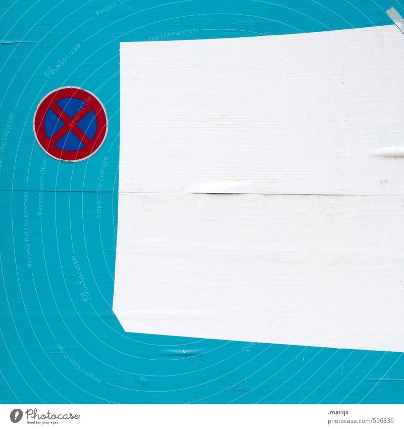 Zone schön weiß Wand Mauer Stil Verkehr Design einfach Zeichen türkis Verkehrszeichen Halteverbot