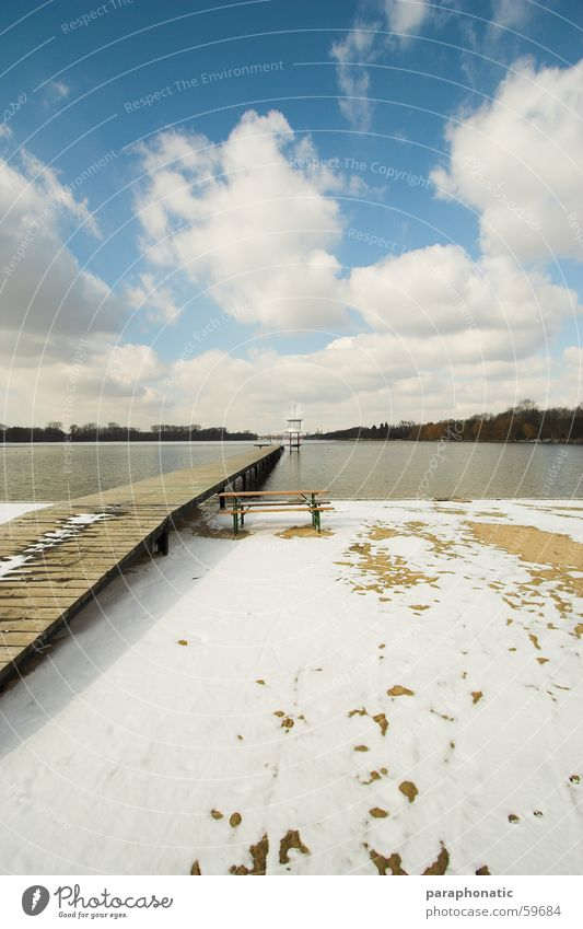 Das letzte Winterbild ;-) Meer Strand kalt Schnee Erholung Frühling Freiheit See Sand Eis Wind lang Steg