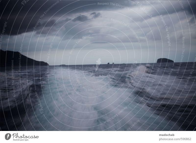 Erstes 2014 | Seaside Urelemente Wasser Himmel Horizont Klima Klimawandel schlechtes Wetter Unwetter Wellen Meer Insel ästhetisch Ferne gigantisch kalt Gefühle