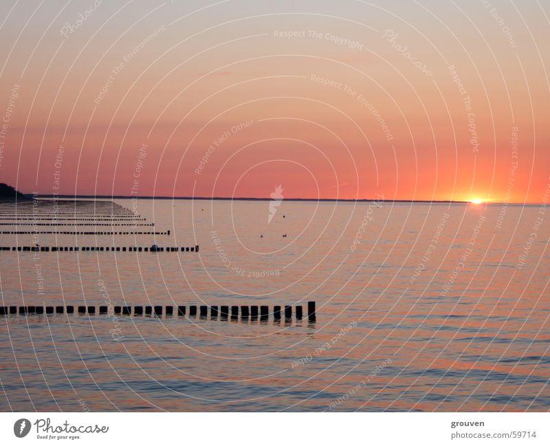 sonnenuntergang Wasser Sonne Meer Strand Traurigkeit orange Insel