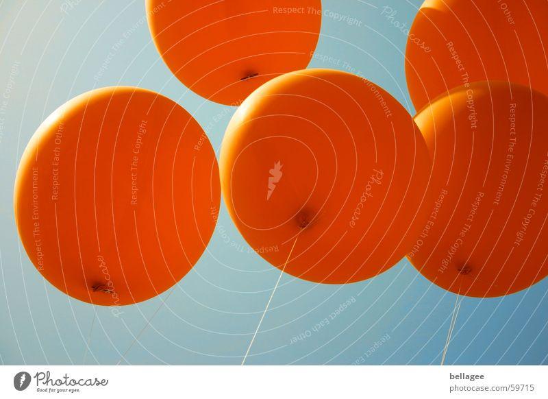 Laß sie fliegen4 Schnur Lebensfreude Luftballon Froschperspektive Gummi blau orange Himmel Luftverkehr Seil aufwärts Knoten