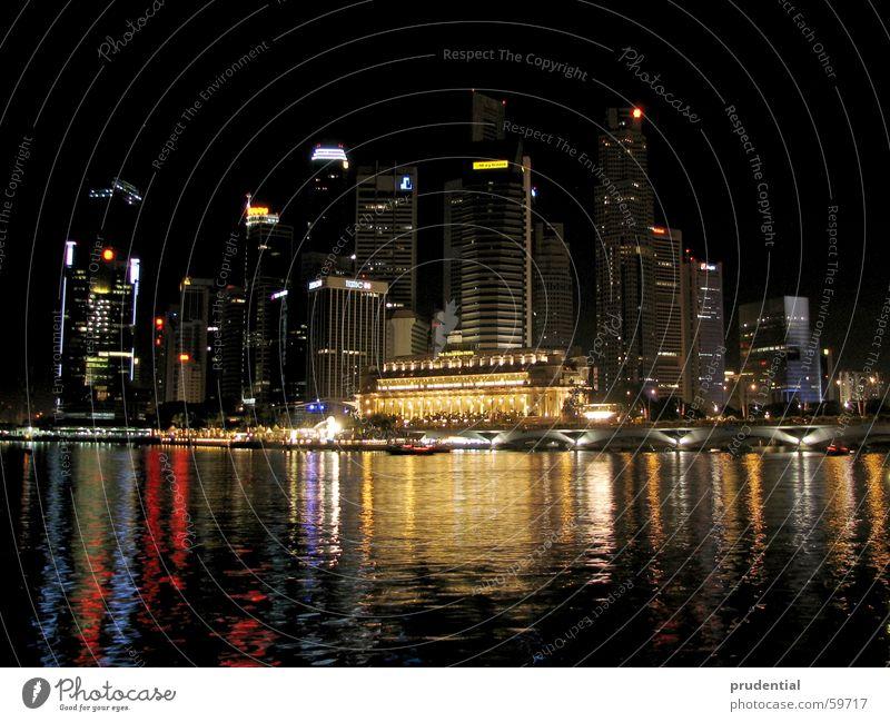 singapore singapur singapura Wasser Stadt Farbe dunkel Hochhaus Spiegel