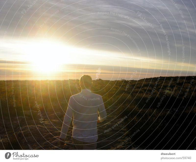 sunset-walk Mensch Himmel weiß Sonne blau Sommer gelb Berge u. Gebirge Stein gold Romantik Kapstadt