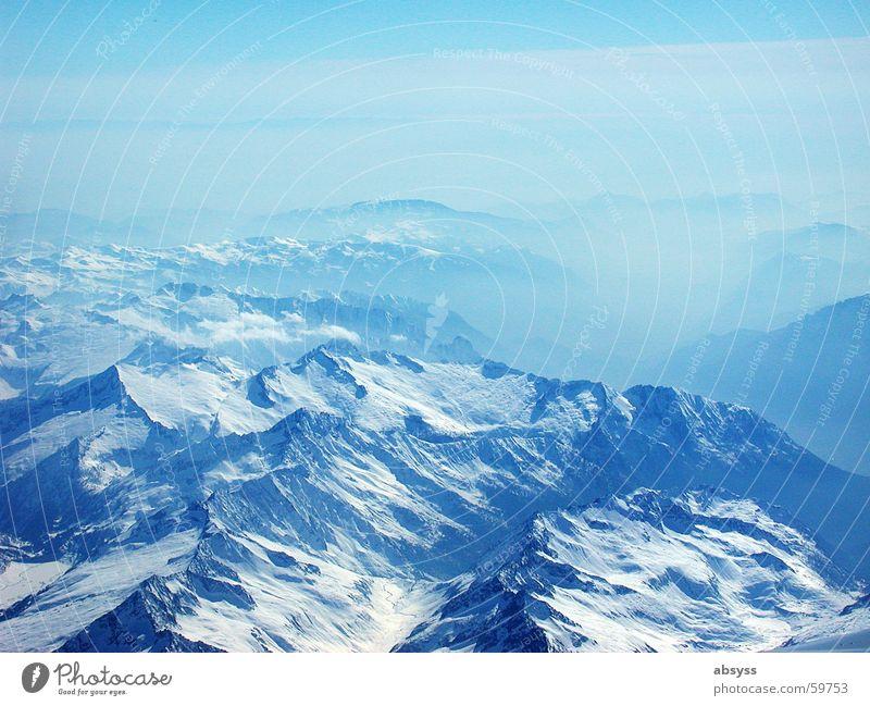 Blau Sicht Flugzeug Nebel Alpen Luftverkehr blau Sonne Schönes Wetter