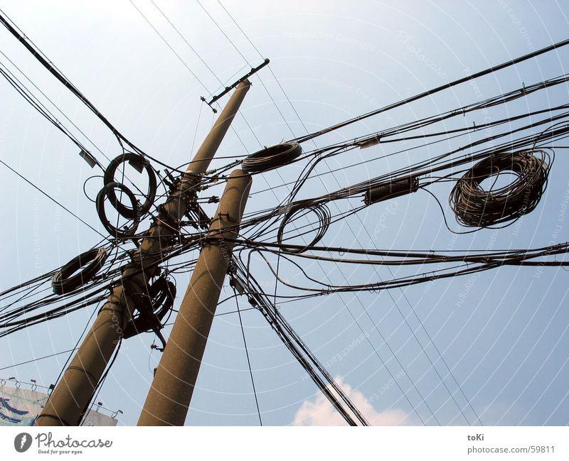 kabelsalat Himmel blau Sommer hoch Elektrizität Kabel Asien China Strommast beeindruckend Nordpol Shanghai Telekommunikation