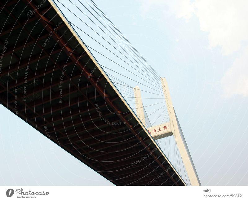 Under the Bridge Kraft Brücke Fluss Asien China diagonal Shanghai Huang Pu Fluß Rijeka