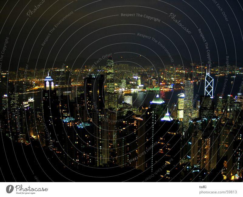 Hong Kong Berge u. Gebirge Landschaft groß Hochhaus Aussicht Asien Hafen China Skyline Belichtung Hongkong Lightshow Porto Schaltpult Kowloon
