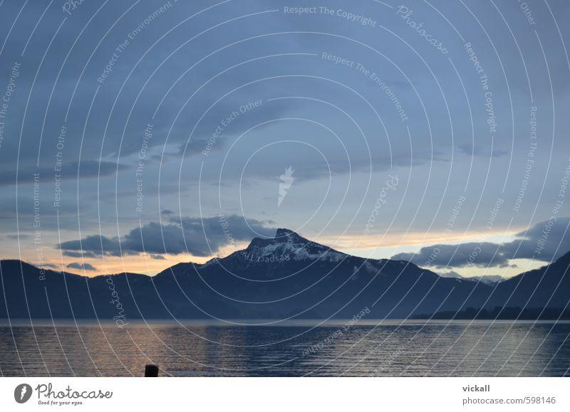 Schafberg am Abend Wasser Himmel Wolken Sonnenaufgang Sonnenuntergang Winter Fitness träumen Berge u. Gebirge Mondsee Seeufer Farbfoto Dämmerung