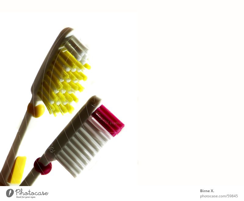 Zärtliche Zahnbürsten weiß rot gelb paarweise Bad nah Borsten Zahnpflege
