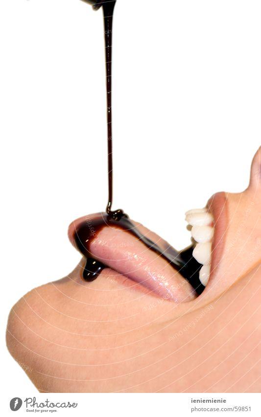 Give me more!!! Schokolade Sirup Süßwaren Frau Mund Suche Kakao Zähne