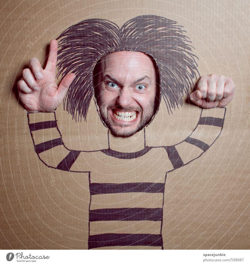 Struwwelpeter Mensch maskulin Junger Mann Jugendliche Erwachsene 1 30-45 Jahre T-Shirt Haare & Frisuren schwarzhaarig langhaarig Bart Dreitagebart Vollbart