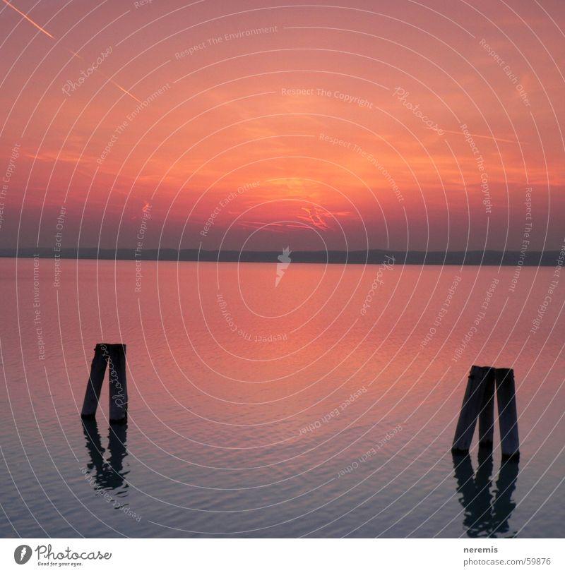sunset Wasser Himmel rot ruhig Erholung See orange Horizont Österreich Podersdorf am See