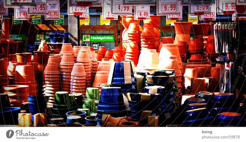 1000 mal ist nichts passiert Topf Blumentopf Pflanze Terrakotta Ton Torf Blumenerde Preisschild Markt Stapel Schilderwald Grüner Daumen Gärtner Kanada Garten