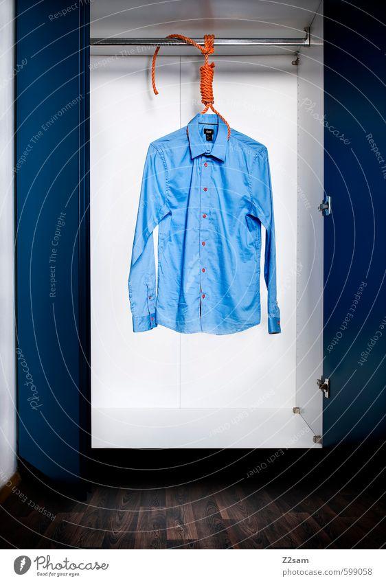 Das letzte Hemd hat keine Taschen elegant Stil Mode Bekleidung hängen ästhetisch Sauberkeit seriös blau braun Traurigkeit Trauer Tod Moral Reichtum skurril