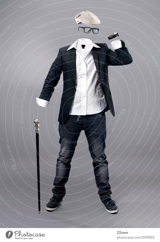 KLEIDER MACHEN LEUTE kaufen Reichtum elegant Stil Skulptur Mode Hemd Jeanshose Jacke Armbanduhr Brille Spazierstock Mütze stehen ästhetisch seriös grau schwarz