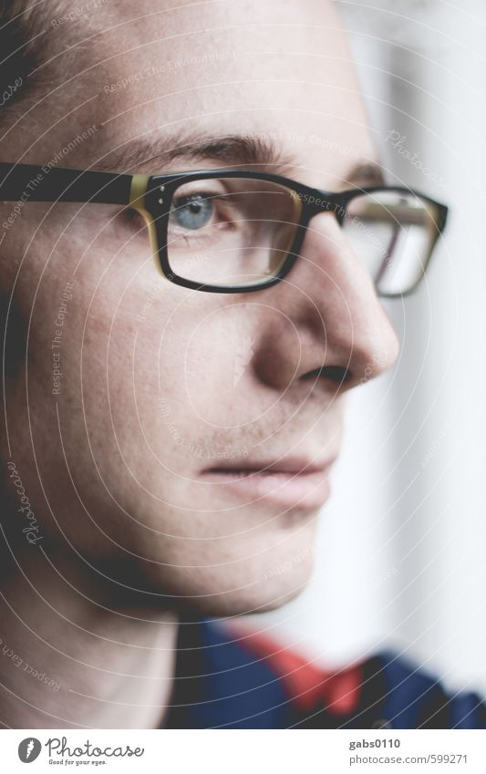 self II Gesicht maskulin Jugendliche Erwachsene Nase Mund 1 Mensch 18-30 Jahre Denken Brille Blick beobachten Selbstportrait nachdenklich Traurigkeit Gefühle