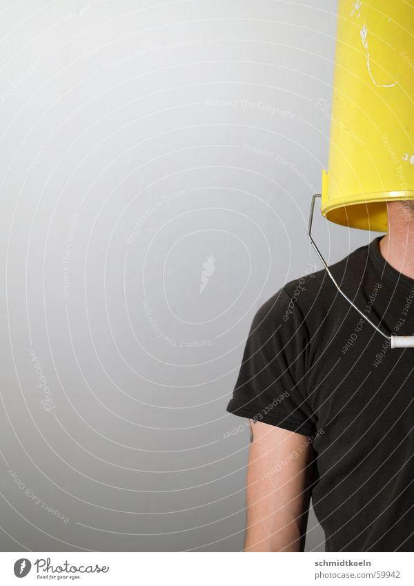 im eimer Mann Einsamkeit gelb Wege & Pfade planen Horizont Perspektive T-Shirt Typ gefangen Griff Dummkopf blind Eimer stur Sehvermögen