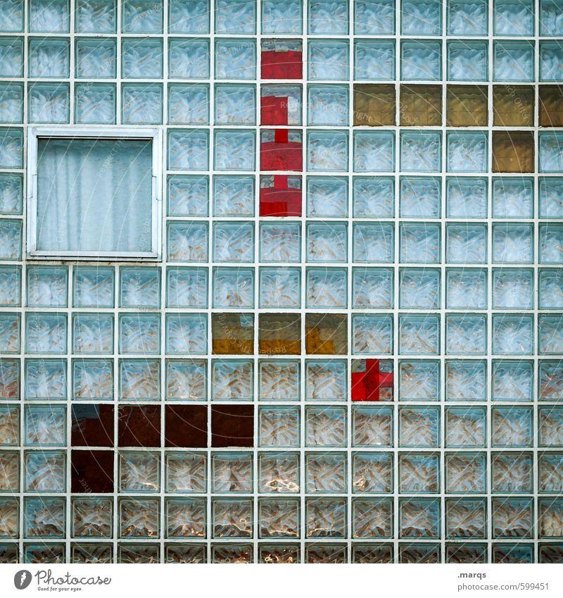 Tetris blau Farbe rot gelb Fenster Stil außergewöhnlich Linie Fassade elegant Design Glas Perspektive Coolness Streifen retro