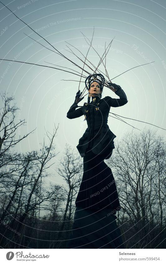 Geäst Mensch feminin Frau Erwachsene 1 Umwelt Natur Wolkenloser Himmel Herbst Winter Pflanze Wald Mode Rock Kleid Jacke Mantel Haare & Frisuren schwarzhaarig