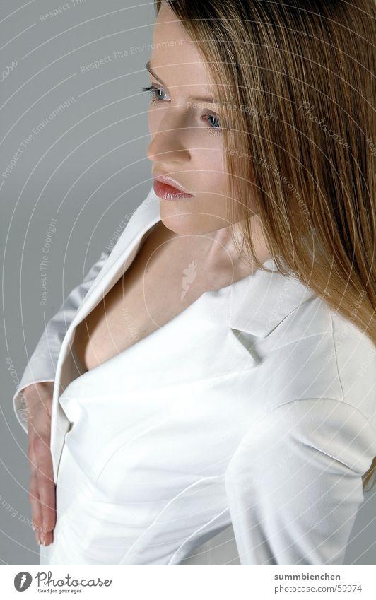 Porträt Frau weiß Erotik blond Model Frauenbrust Brust Einblick Photo-Shooting Dekolleté
