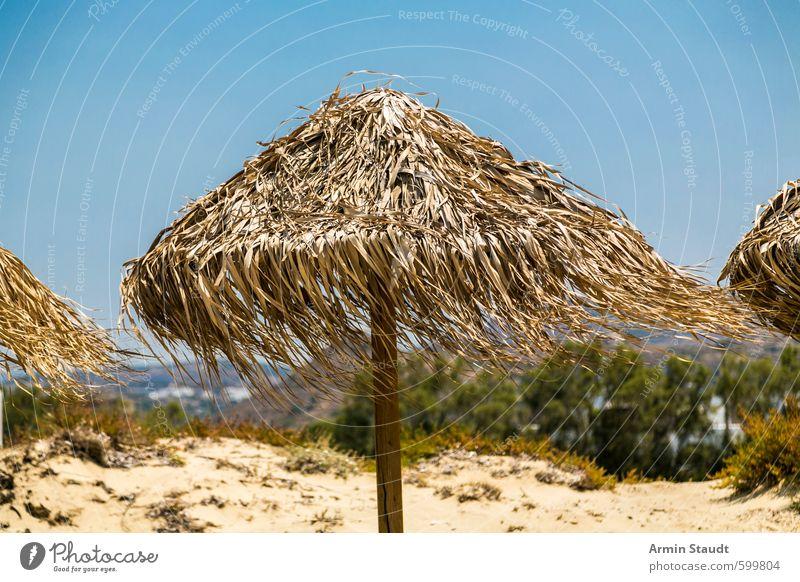 Sonnenschirm aus Schilf im Wind Natur Ferien & Urlaub & Reisen blau Sommer Erholung Strand Sand Stimmung träumen Zufriedenheit stehen Tourismus authentisch