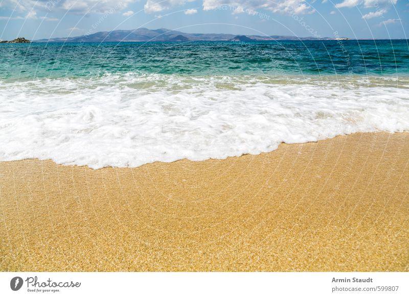 Meeresbrandung Erholung Ferien & Urlaub & Reisen Sommer Strand Wellen Natur Sand Wasser Himmel Küste Schwimmen & Baden entdecken ästhetisch heiß hell nass blau