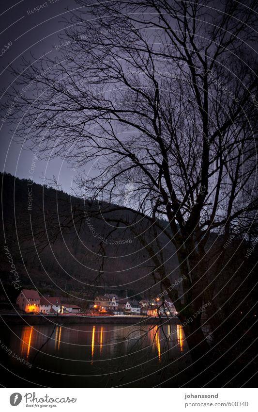 Dämmerung am Neckar Einsamkeit Landschaft Winter schwarz dunkel Traurigkeit Tod Stimmung bedrohlich Fluss Trauer Hügel geheimnisvoll violett Dorf Ende