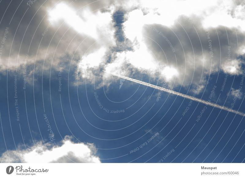 Flieger, grüß mir die Sonne Himmel Wolken Flugzeug Streifen