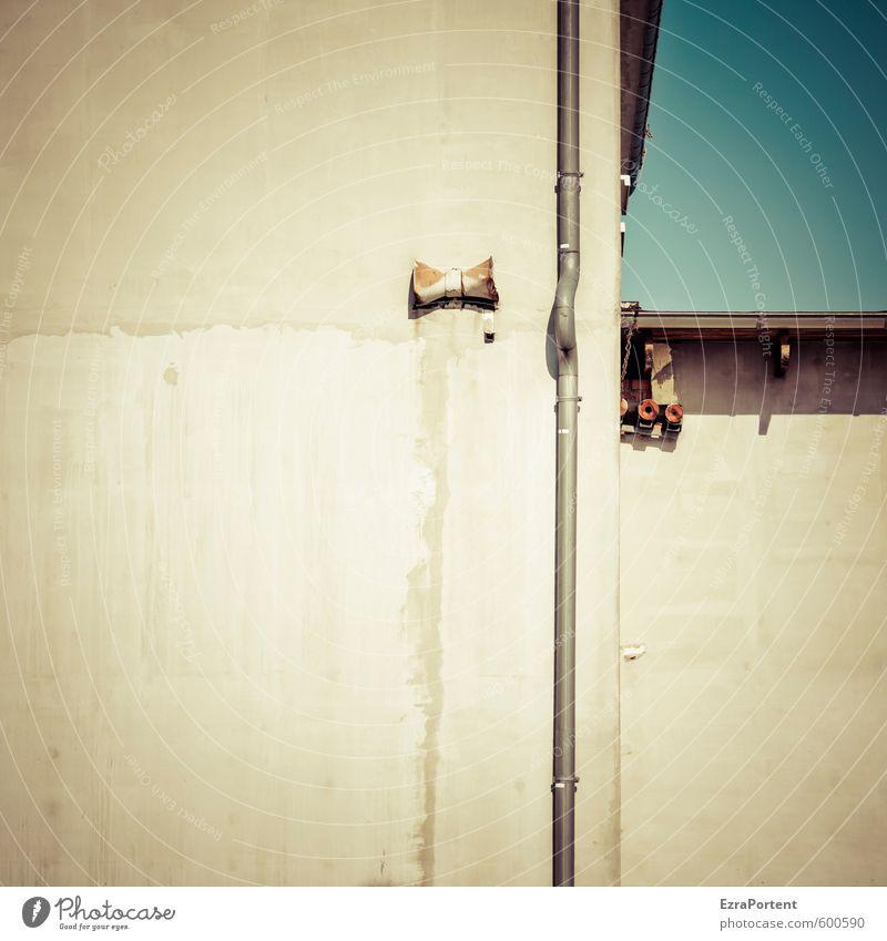 Sky Kunst Himmel Wolkenloser Himmel Haus Industrieanlage Fabrik Bauwerk Gebäude Architektur Mauer Wand Fassade Dachrinne Beton Metall alt dreckig trashig blau