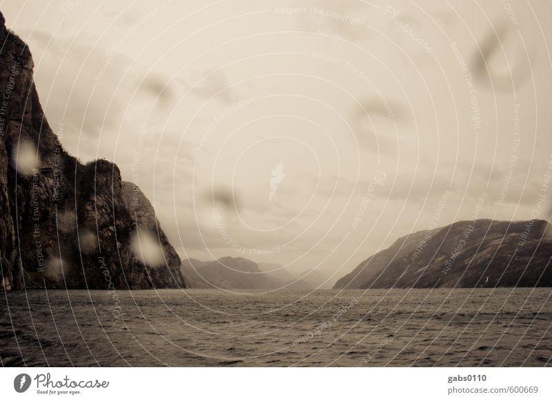 Fjord IV Natur weiß Baum Landschaft Wolken Ferne schwarz kalt Umwelt Herbst Küste außergewöhnlich braun Felsen Wellen Nebel