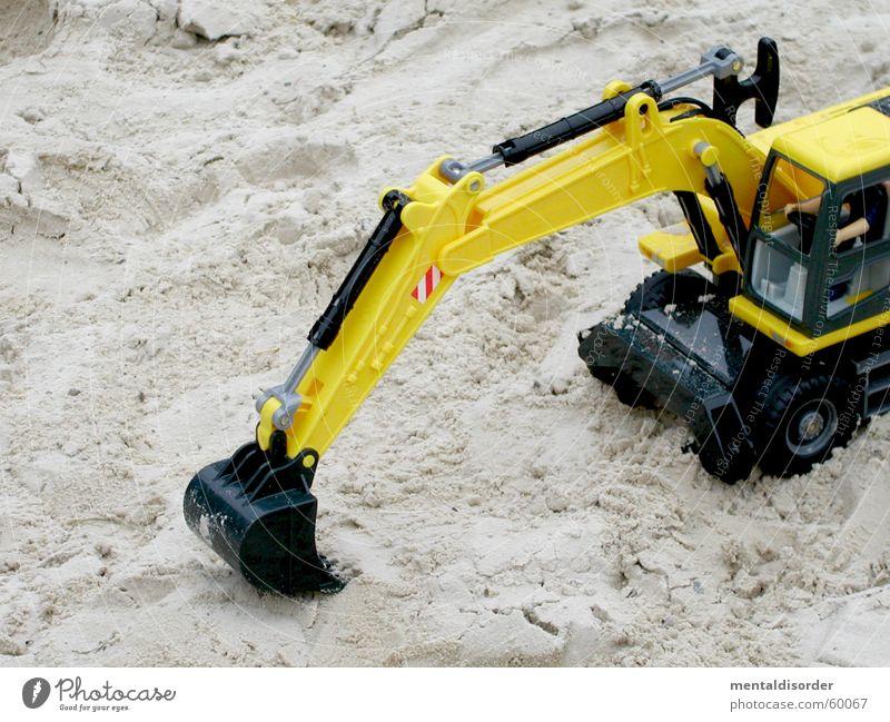 kai´s bagger gelb Spielen Bewegung Sand Erde Güterverkehr & Logistik Baustelle Spielzeug stark Rad Maschine bauen Konstruktion Bagger Löffel füllen