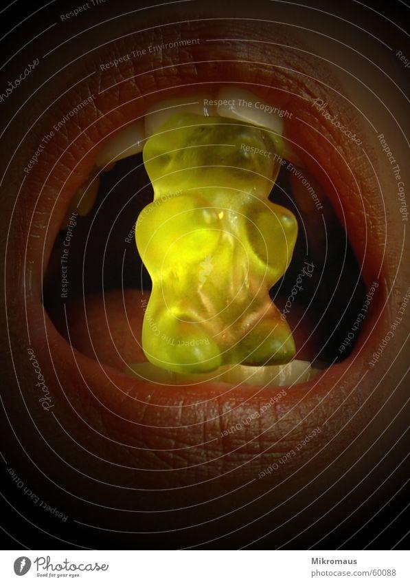 Gummibärchen Frau grün gelb dunkel Ernährung Lebensmittel hell Mund Beleuchtung süß Zähne Lippen lecker Appetit & Hunger Süßwaren Bär