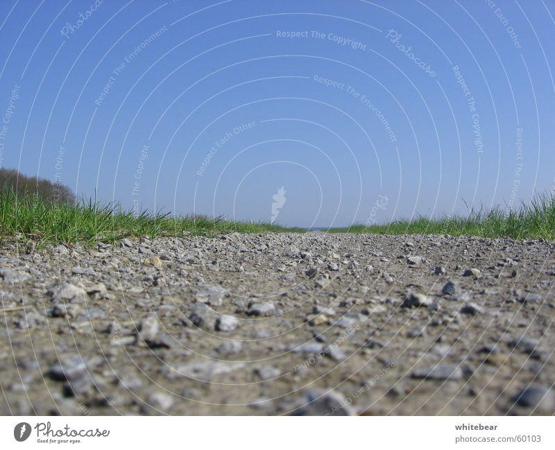Der Weg Natur schön Himmel Straße Wiese Stein Wege & Pfade Erde Rasen Bodenbelag Kies